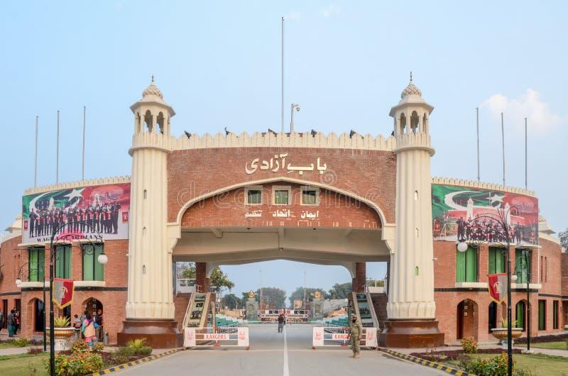 Wagahgrens, de Grens van Pakistan India, Lahore Pakistan op 28 Februari 2016 royalty-vrije stock afbeelding