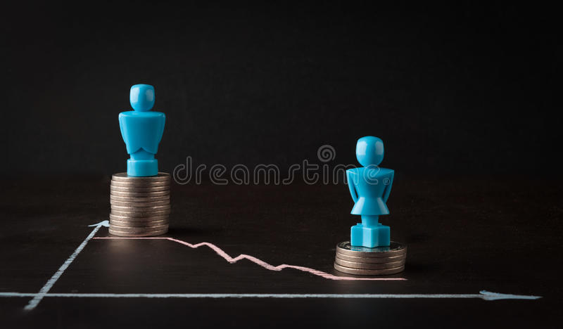Wage gap and gender equality concept royalty free stock photo