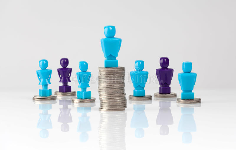 Wage gap and unequal money distribution concept. Shown with male and female figurines standing on coin piles royalty free illustration