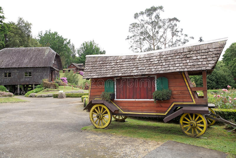 Wagen bij het Duitse Museum in Frutillar, Chili royalty-vrije stock foto