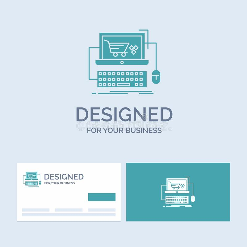 Wagen, on-line, Geschäft, Speicher, Spiel Geschäft Logo Glyph Icon Symbol für Ihr Geschäft T?rkis-Visitenkarten mit Markenlogo lizenzfreie abbildung