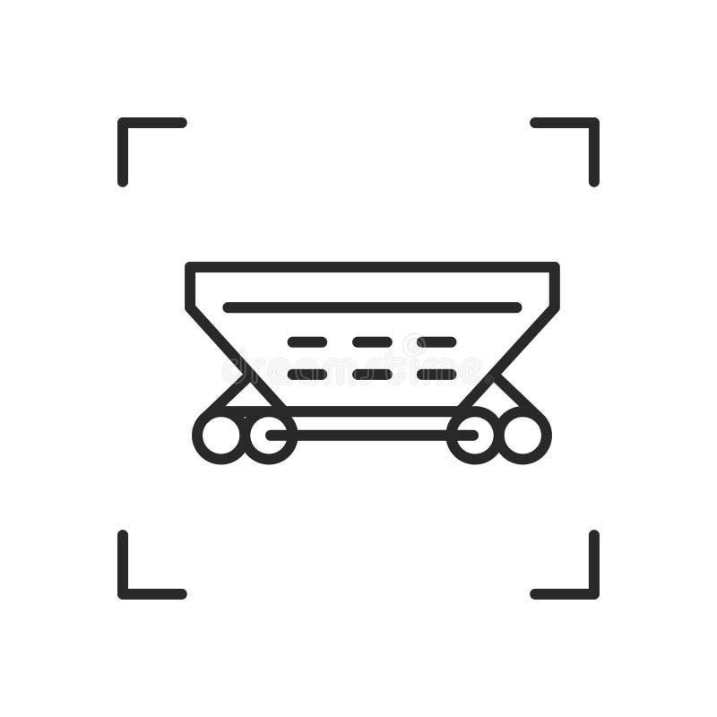 Wagen lineair vectorpictogram In de spoorwegvervoer van de lijnillustratie voor website van vervoerbedrijf royalty-vrije illustratie