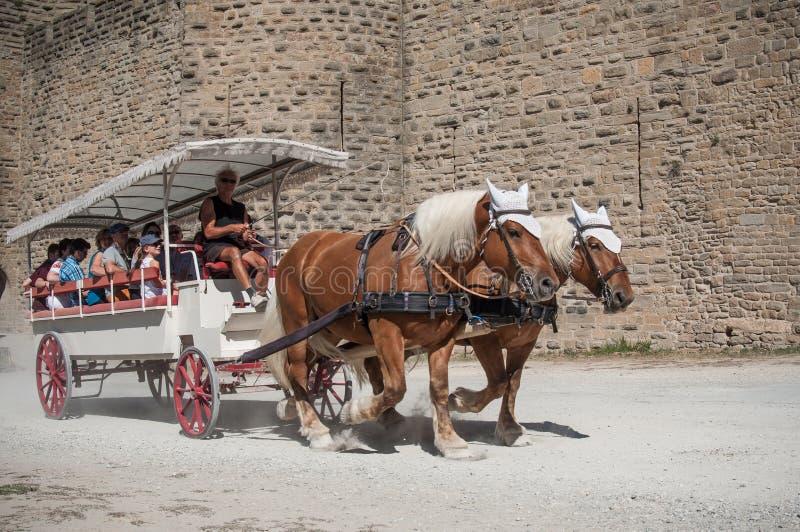Wagen mit Touristen um die Verstärkungen lizenzfreie stockbilder