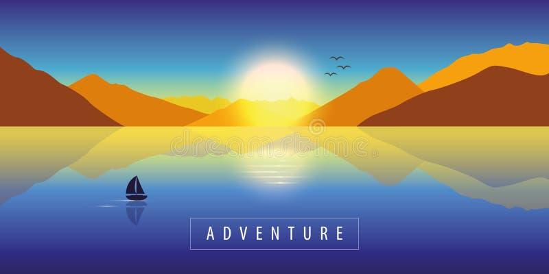 Wagen Sie Herbstlandschaftshintergrund mit einsamem Segelboot auf einem ruhigen See und Bergblick bei buntem Sonnenuntergang lizenzfreie abbildung