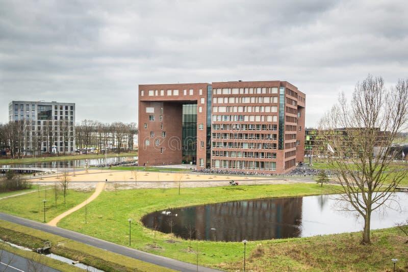 WAGENINGEN HOLLAND, - JANUARI 26, 2016: Wageningen universitet och forskningmitt i Wageningen arkivfoton