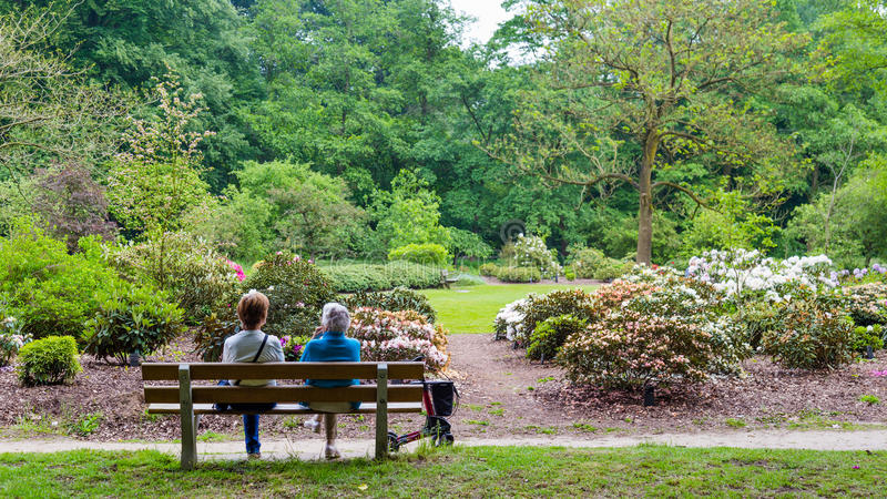 WAGENINGEN, NETHERLANDS - APRIL 30, 2016: Two woman resting on a bench. Two eldery woman enjoying the view in Arboretum Belmonte in Wageningen in the Netherlands royalty free stock photos