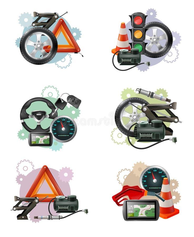 Wagenpflege-Zeichen-Satz stock abbildung