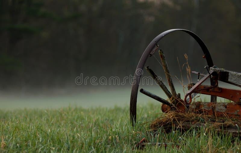 Wagenwiel in de Mist stock afbeeldingen