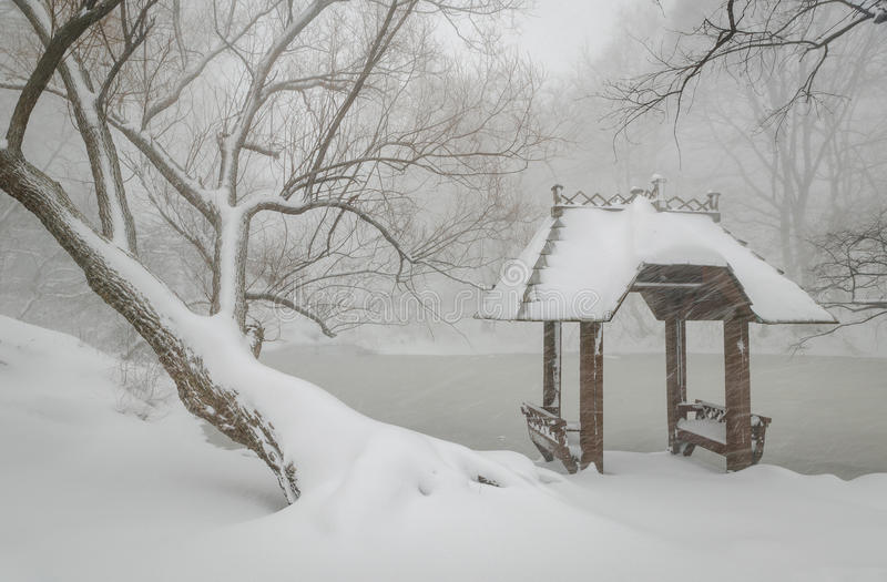 Wagner Cove and gazebo in the snow, Central Park, royalty free stock photos