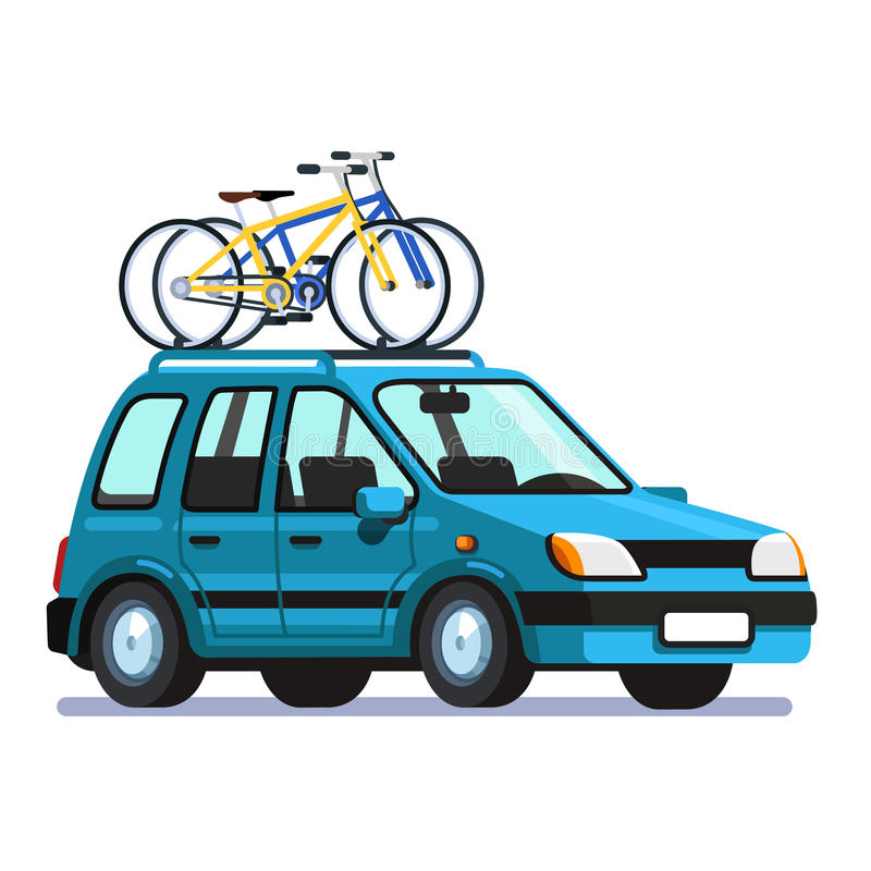 Wagon car with two bicycles mounted on roof rack royalty free illustration