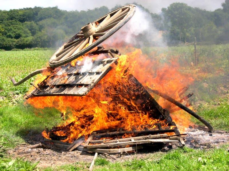 Wagon on fire stock photo