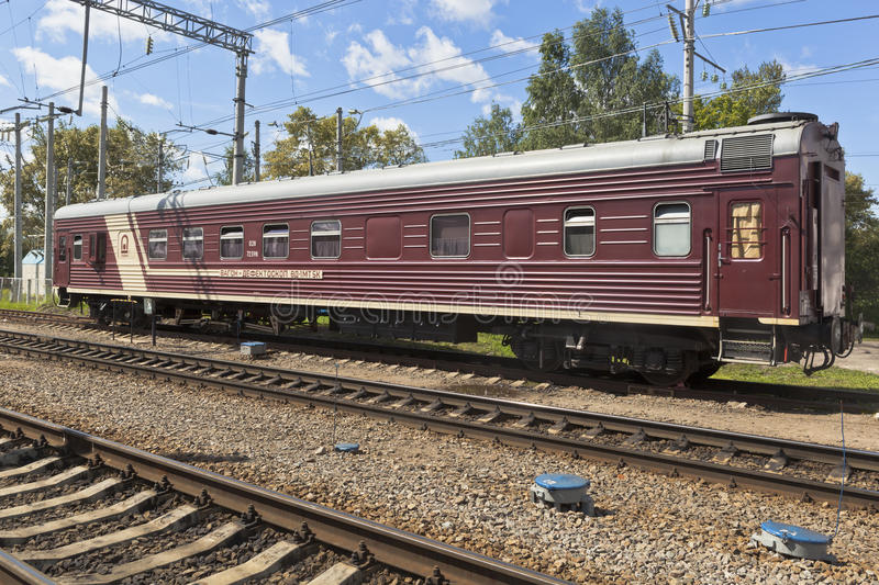 Wagon flaw VD 1MT5K designed to check the status of the railway line. Yaroslavl, Russia - 25 July 2015: Wagon flaw VD 1MT5K designed to check the status of the royalty free stock photo