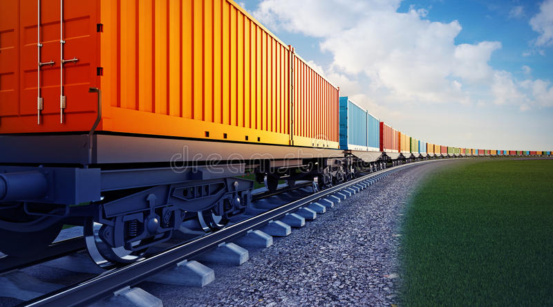 Wagon of freight train with containers stock illustration