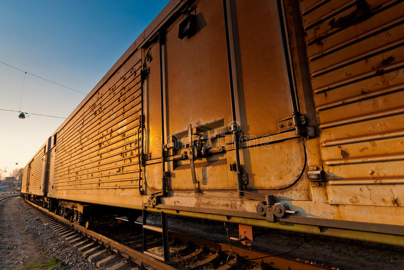 Wagon freight train waiting for departure stock image