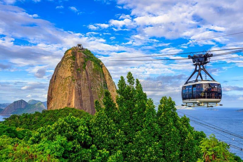 On wagon kolei linowej Cukrowy bochenek w Rio De Janeiro zdjęcie royalty free