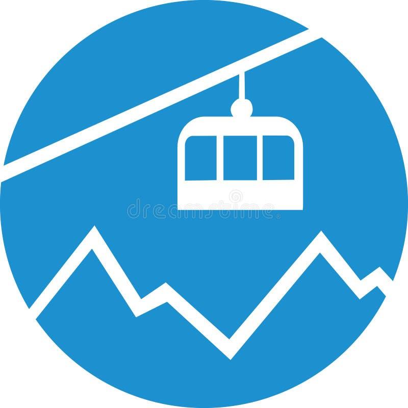 Wagon kolei linowej gondola nad górą royalty ilustracja