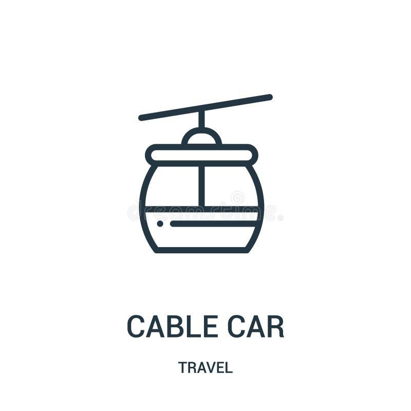 wagon kolei linowej ikony wektor od podróży kolekcji Cienka kreskowa wagonu kolei linowej konturu ikony wektoru ilustracja Liniow royalty ilustracja