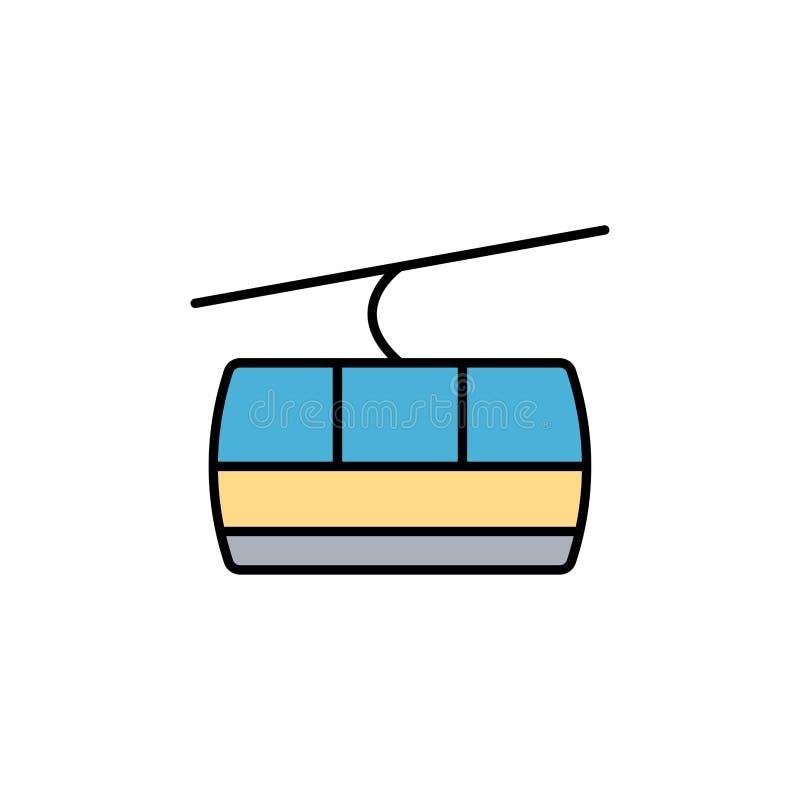 Wagon kolei linowej ikony znaka płaski wektorowy symbol ilustracja wektor