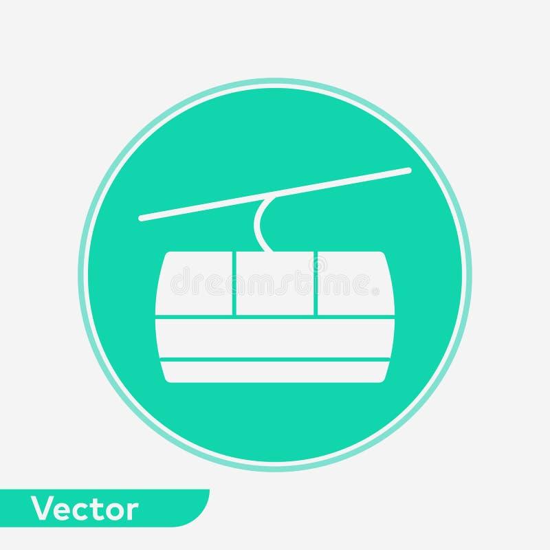 Wagon kolei linowej ikony znaka wektorowy symbol royalty ilustracja