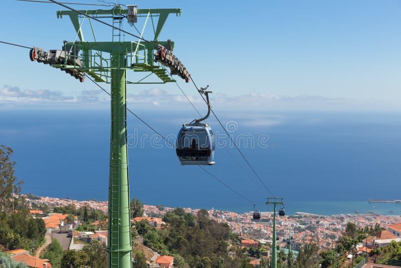Wagon kolei linowej Monte przy Funchal, madery wyspa Portugalia fotografia royalty free