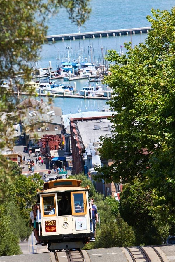 Wagon Kolei Linowej -3 na Hyde ulicie w San Fransisco fotografia royalty free