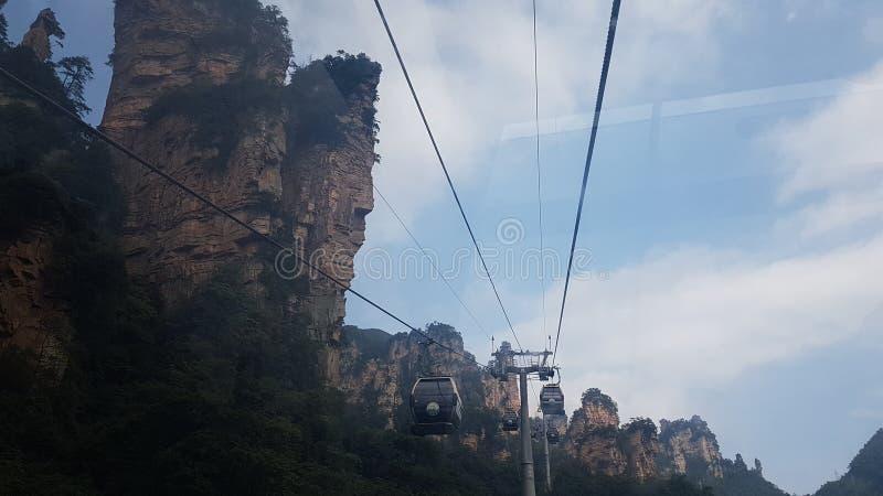 Wagon Kolei Linowej Tianzi góra zdjęcie royalty free