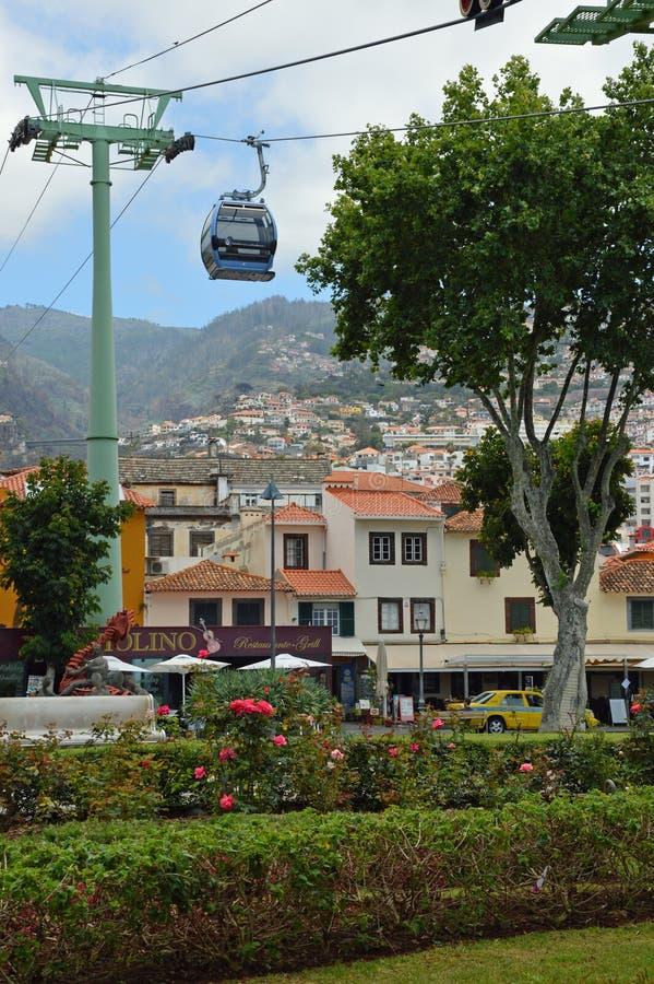 Wagon kolei linowej w centre Funchal obraz stock