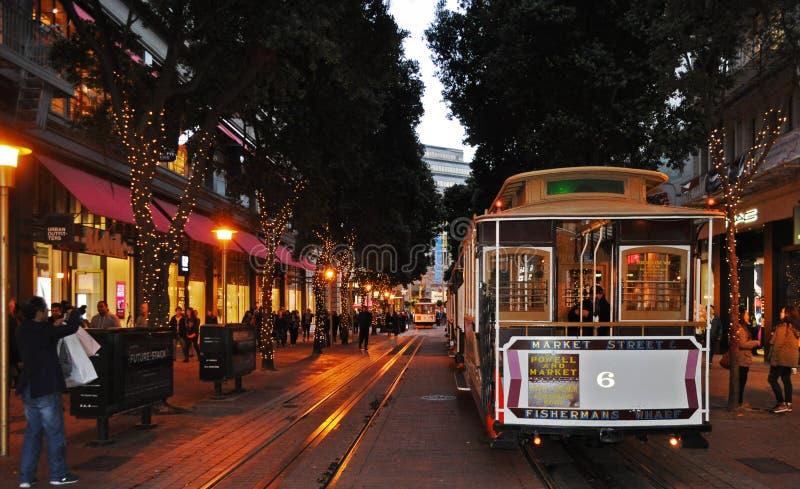 Wagon kolei linowej w SF śródmieściu obrazy royalty free