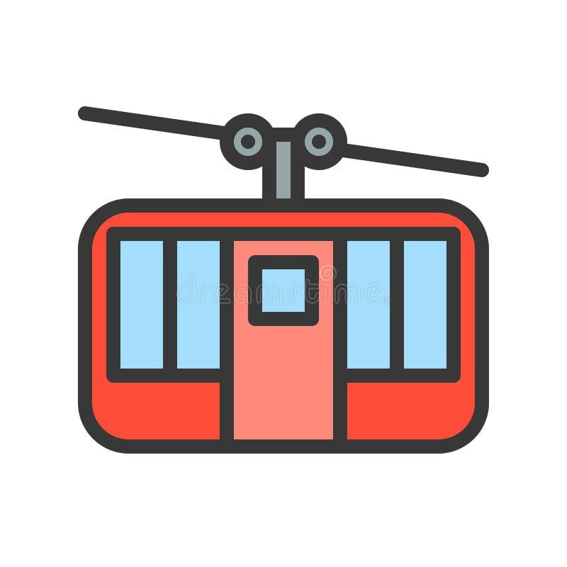 Wagon kolei linowej wektorowa ikona, wypełniający konturu stylu editable uderzenie ilustracja wektor