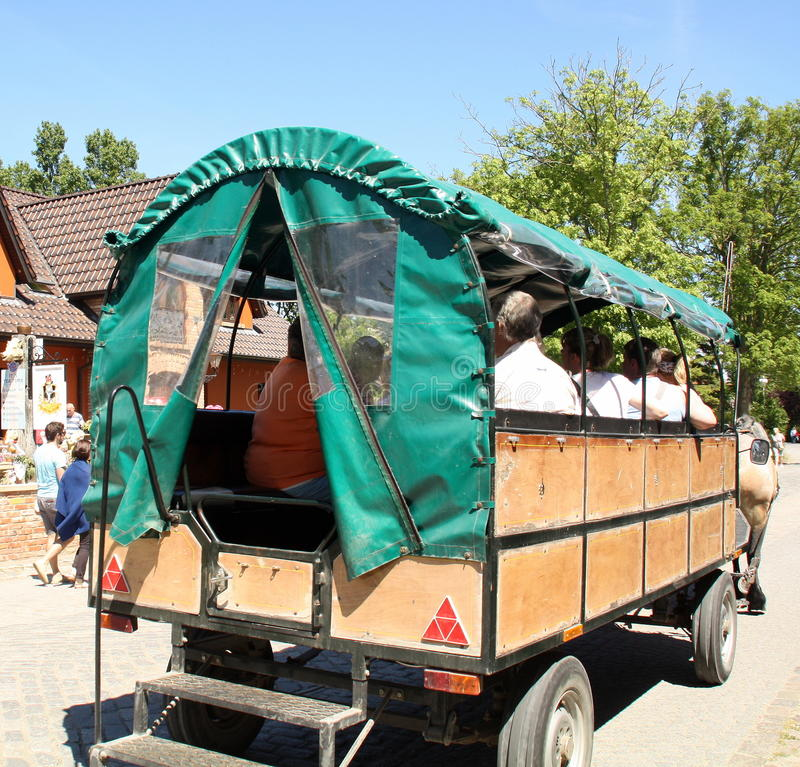 Wagon pulled by horses royalty free stock photo