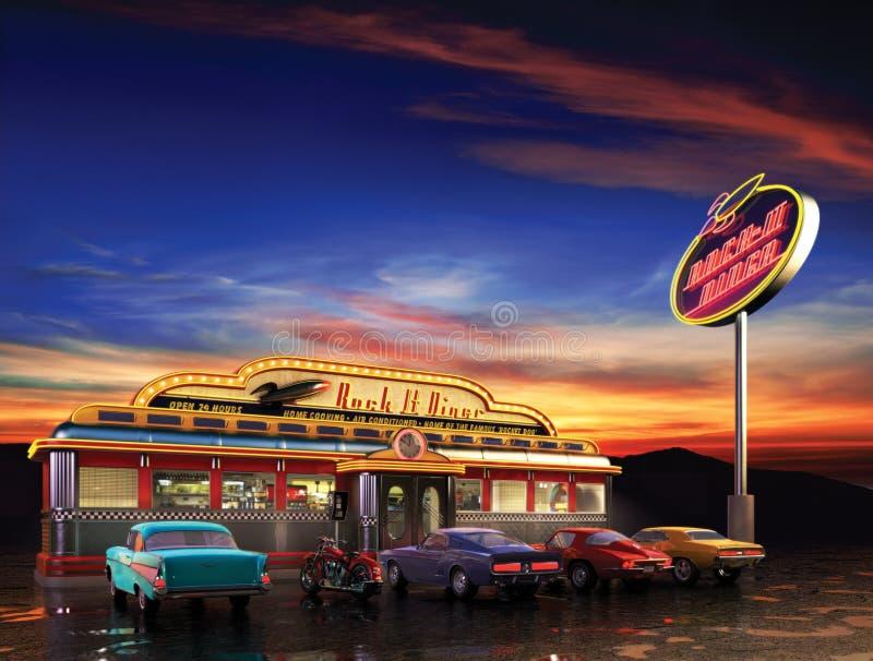 Wagon-restaurant américain illustration de vecteur