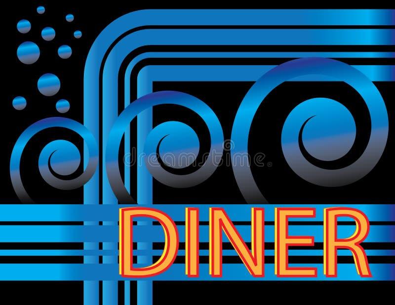 wagon-restaurant bleu de deco illustration stock
