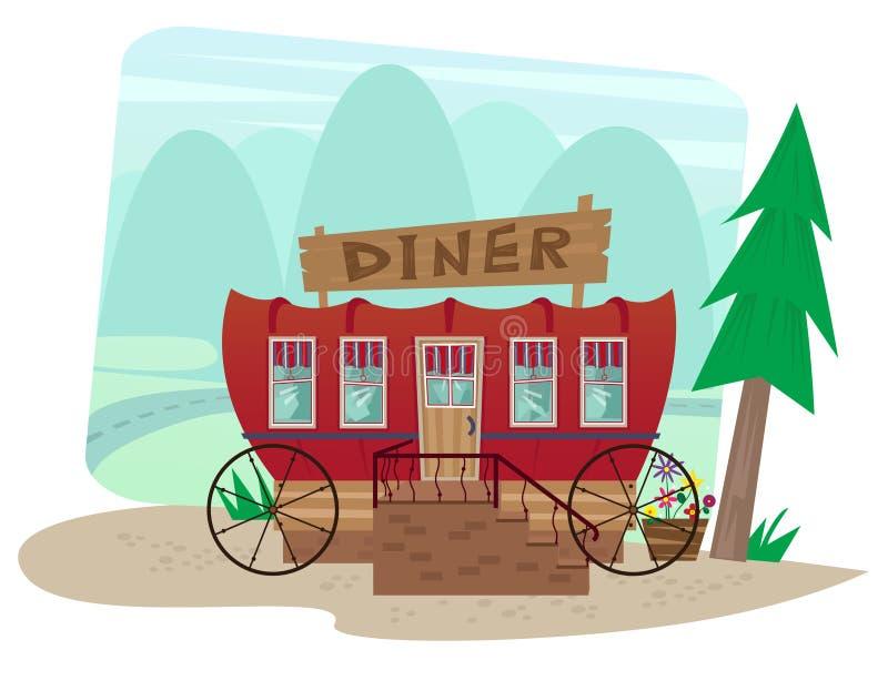 Wagon-restaurant de chariot illustration stock