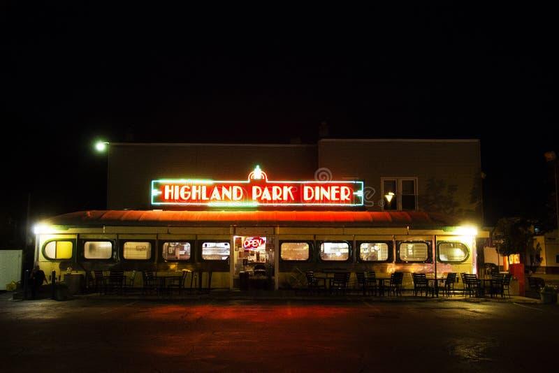 Wagon-restaurant de Highland Park la nuit à Rochester New York image stock