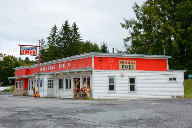 Wagon-restaurant de Middleburgh à New York hors de la ville images libres de droits