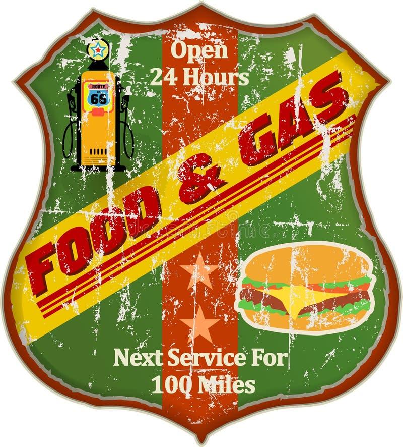 Wagon-restaurant de Route 66 et signe de station service illustration libre de droits