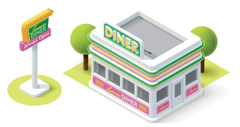 Wagon-restaurant isométrique de vecteur illustration de vecteur