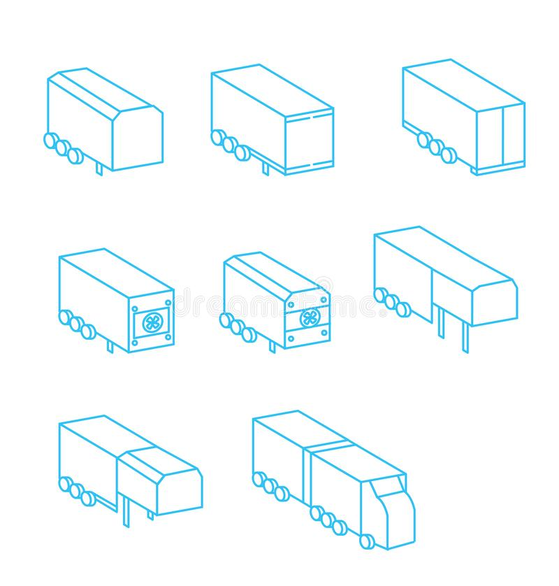 Wagon trailer icon set. hindi carriage caravan delivery logistic export,import symbol track cargo container vector illustration stock illustration