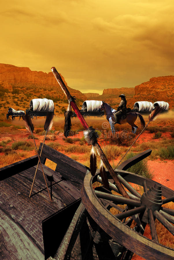 Wagon train after attack royalty free illustration