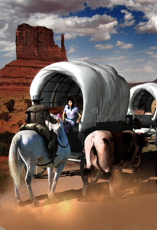 Wagon train flirt royalty free illustration