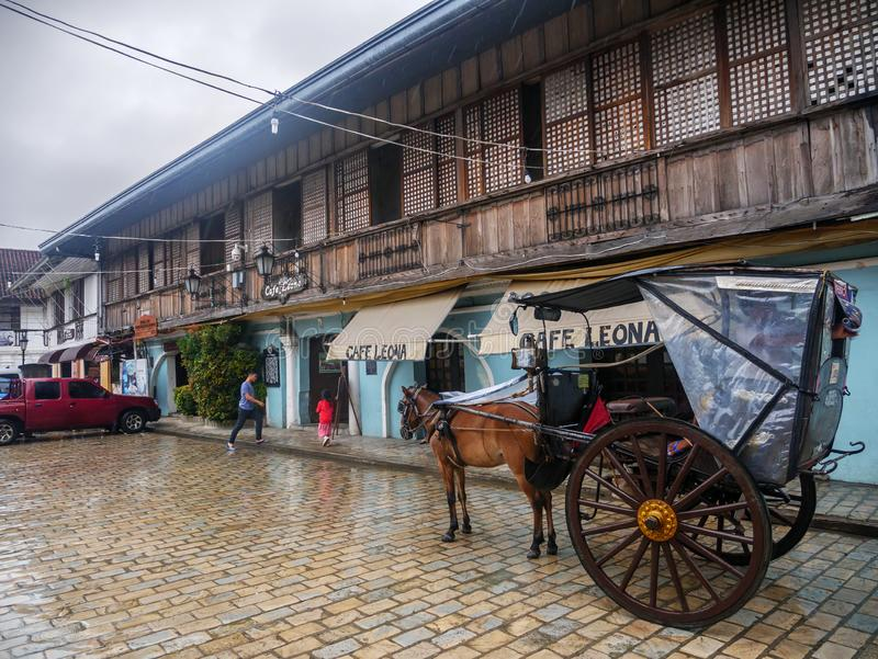 Wagon waiting for guests in downtown Vigan, Vigan City, Philippines ,Aug 24,2018. Aug 24,2018 Vigan City, Philippines - Wagon waiting for guests in downtown stock image