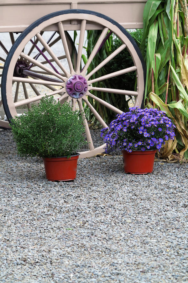 Wagon Wheel and Flower Pots stock images