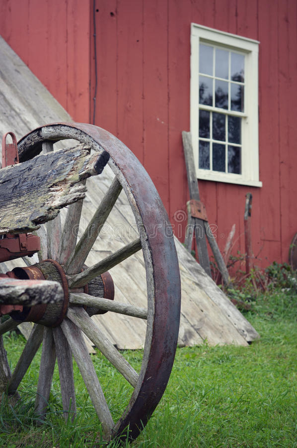 Wagon Wheel Red Building royalty free stock images