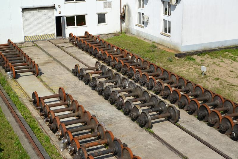 Wagon wheelsets at the railway depot stock photography