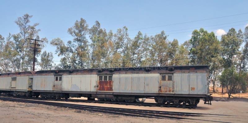 Wagons de chemin de fer fixés pour U S Transport de courrier et d'argent photo stock
