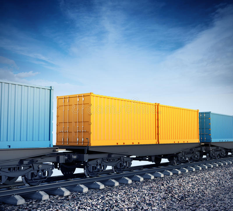 Wagons of freight train royalty free illustration