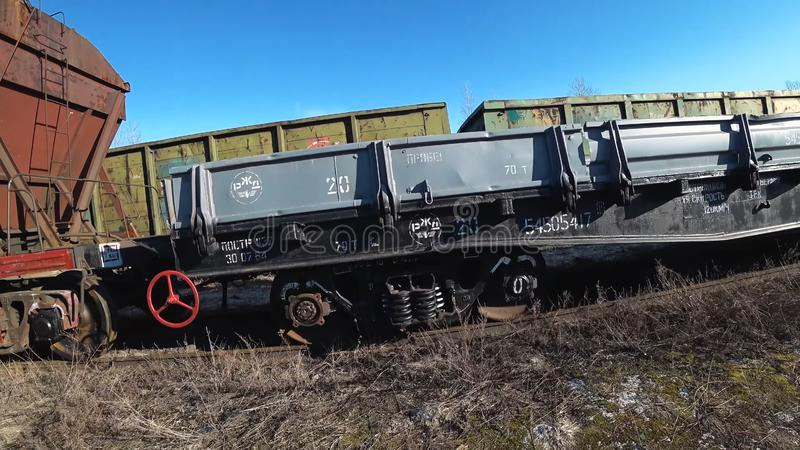 Wagons of freight train. Railway wagons. royalty free stock photography