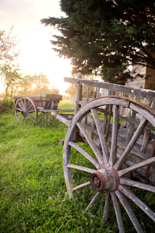 Wagons outside french chateaux stock photo