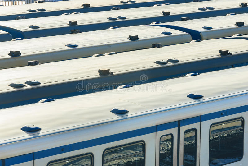 Wagons parked at the station. Train station stock images