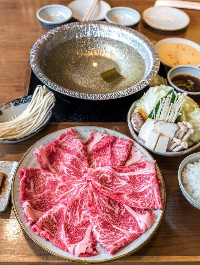 Wagyu牛肉Shabu热的罐集合 库存照片